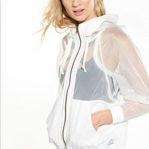 REEBOK white sheer active wear jacket